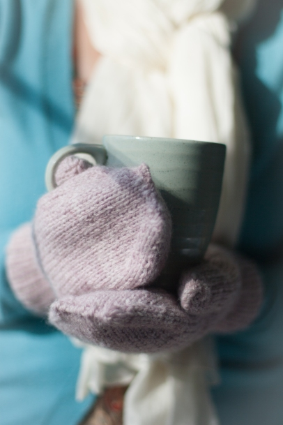 Sew.Knit.Create mittens and coffee